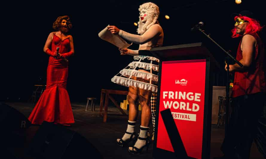 Three artists protest at Fringe World's launch event in Perth in January 2019