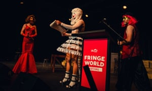 Artists protest at Fringe World's launch event, calling for an to end its eight-year sponsorship arrangement with Woodside.