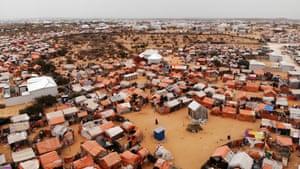 An aerial view of Kahda IDP camp in Mogadishu.