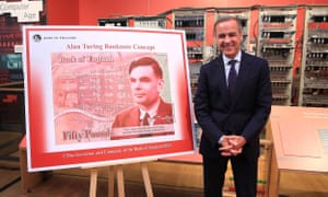 Governor of the Bank of England Mark Carney announces that Alan Turing has been selected to feature on the next £50 note on 15 July 2019.