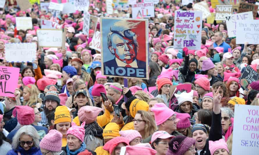 Demonstrators at the first Women's March in Washington DC on 21 January 2017.