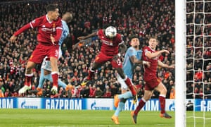 Sadio Mané scores Liverpool's third during their decisive first-half blitz in last year's all-English quarter-final against Manchester City.