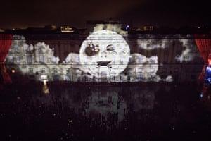 Enoha Fait Son Cinéma projected across Musee des Beaux-Arts