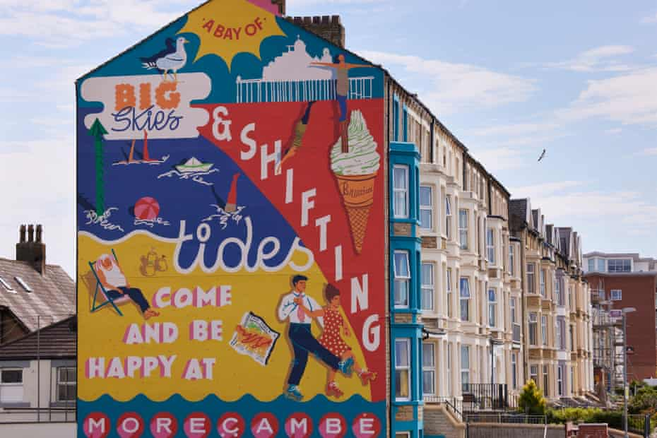 A new mural on Morecambe's Sandylands Promenade celebrating the heritage of Wakes weeks, when factories would shut down and workers headed for the Lancashire coast.