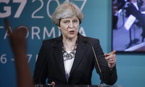 'Her armour has been dented': Theresa May at a news conference in Taormina, Italy last week