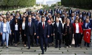 Ekrem İmamoğlu, mayor of Istanbul, and supporters at the mausoleum of Mustafa Kemal Ataturk in Ankara, July 2019