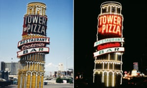 Tower of Pizza Restaurant, Las Vegas Nevada, 1979 from the AMERICAN NEON SIGNS BY DAY AND NIGHT series
