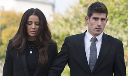 Footballer Ched Evans leaves Cardiff Crown Court with his partner last week
