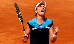 Johanna Konta celebrates a hard-fought win in Rome.