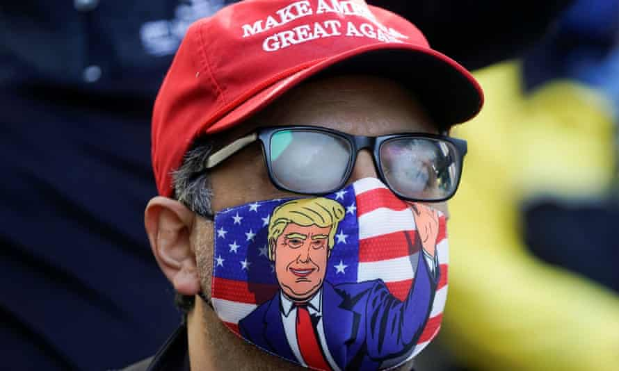 A supporter of Donald Trump is pictured in Philadelphia, Pennsylvania, on Wednesday.