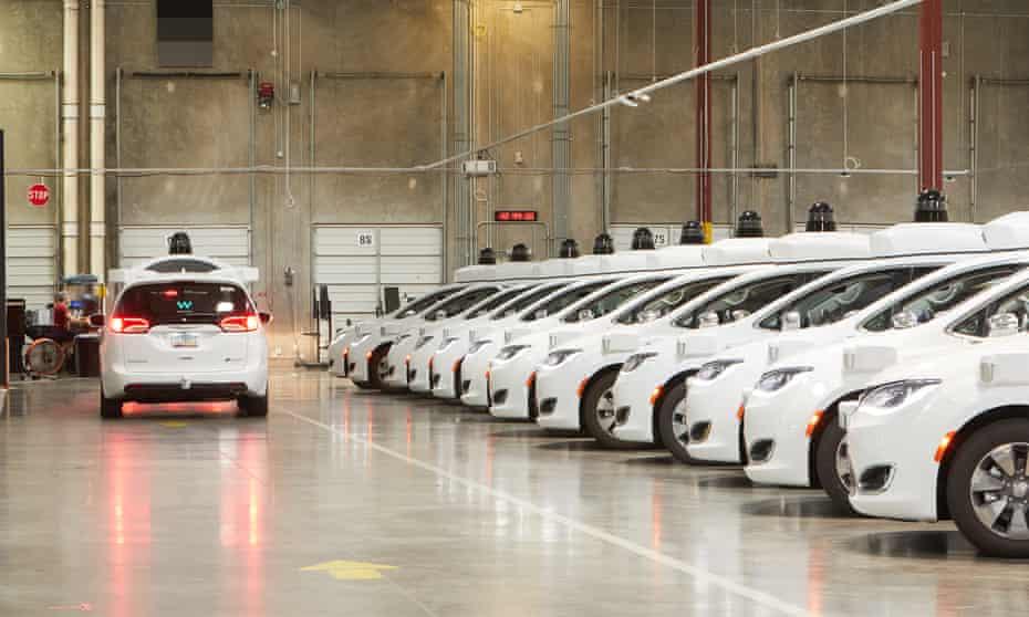 Waymo's depot of self-driving cars in Chandler, Arizona.