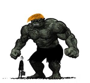 Illustration by David Foldvari of tiny Gove and Hulk-Trump.