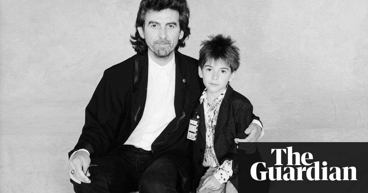 George Harrison With His Son Dhani London 1987