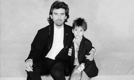 George Harrison with his son Dhani, London 1987.