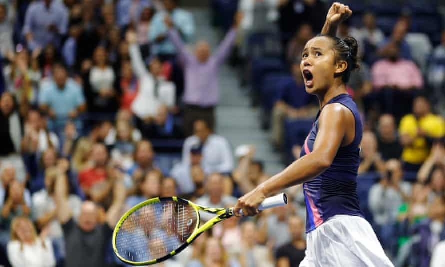 Leylah Annie Fernandez celebrates beating Aryna Sabalenka in Thursday's first semi-final