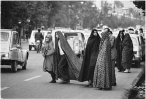 A group of women waiting in Tehran city centre for a taxi