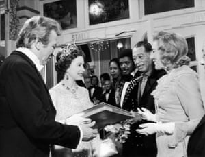 The Queen is presented with a record by singer Vera Lynn in November 1973.