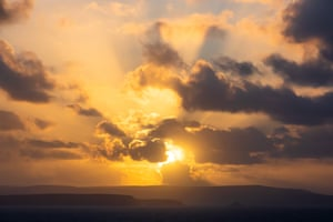 Sunset from the beacon in St Agnes in the direction of St Ives.