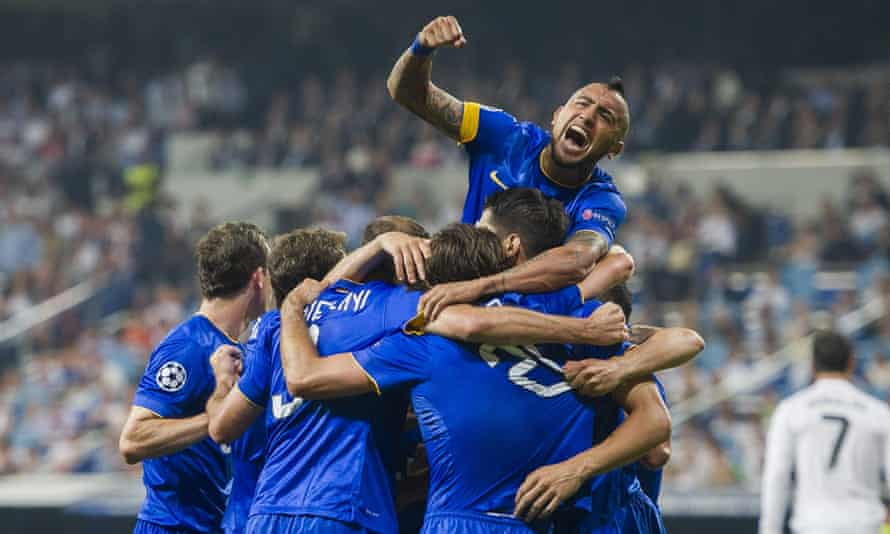 Juventus celebrate Álvaro Morata's goal, which knocked Real Madrid out of the Champions League.