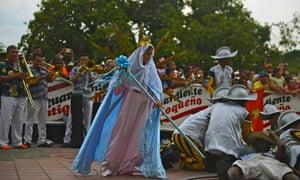 Procession and re-enactment celebrating Santa Rosario, Valledupar, Colombia.