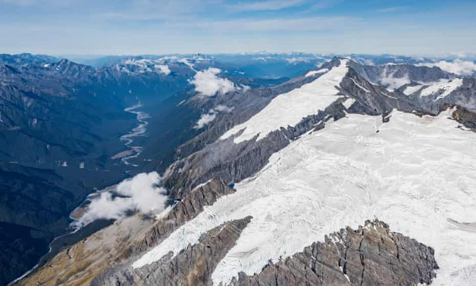 Aerial view of New Zealand's glaciers
