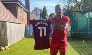 Gabby Agbonlahor with the Aston Villa shirt he is raffling. He scored the winner against Birmingham in it on this day three years ago.