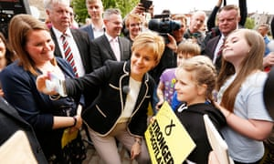 Nicola Sturgeon poses for selfies at Edinburgh's Malmaison Hotel on the last day of the general election campaign.