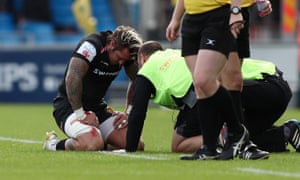 Exeter's Jack Nowell is treated on the pitch for the facial knock he sustained in October against Newcastle. He needed two operations after the injury.