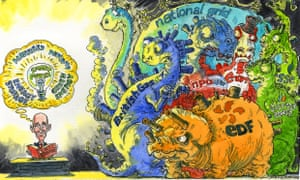 Cartoon of the Big Six energy firms as dinosaurs in the dark