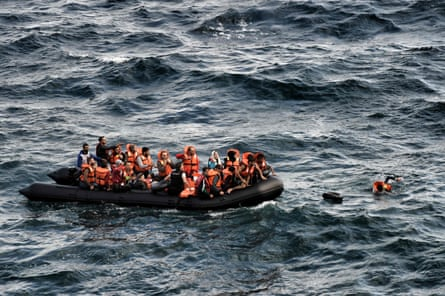 Refugees trying to reach the Greek island of Lesbos after crossing the Aegean sea from Turkey, September 2015