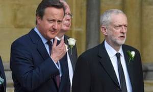 Britain's Prime Minister David Cameron walks from Parliament to St Margaret's Church with Jeremy Corbyn the leader of the opposition