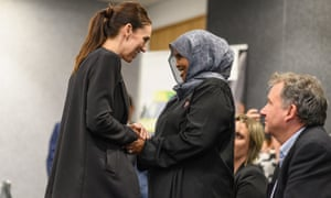 Jacinda Ardern greets a first responder during a visit at the Justice and Emergency Services precinct.
