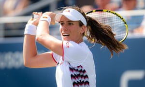 The No 16 seed Johanna Konta on her way to victory over Zhang Shuai in the US Open at Flushing Meadows.