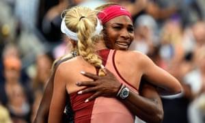 Serena Williams hugs close friend Caroline Wozniacki after their women's singles final match at the 2014 US Open. Williams won 6-3, 6-3.