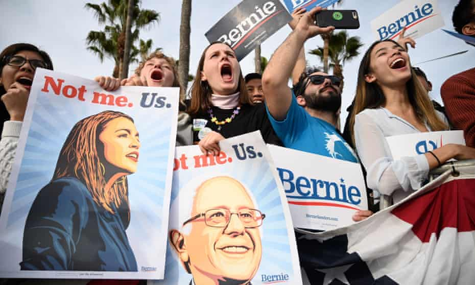 Bernie Sanders supporters voice their backing at a rally in Los Angeles last month.