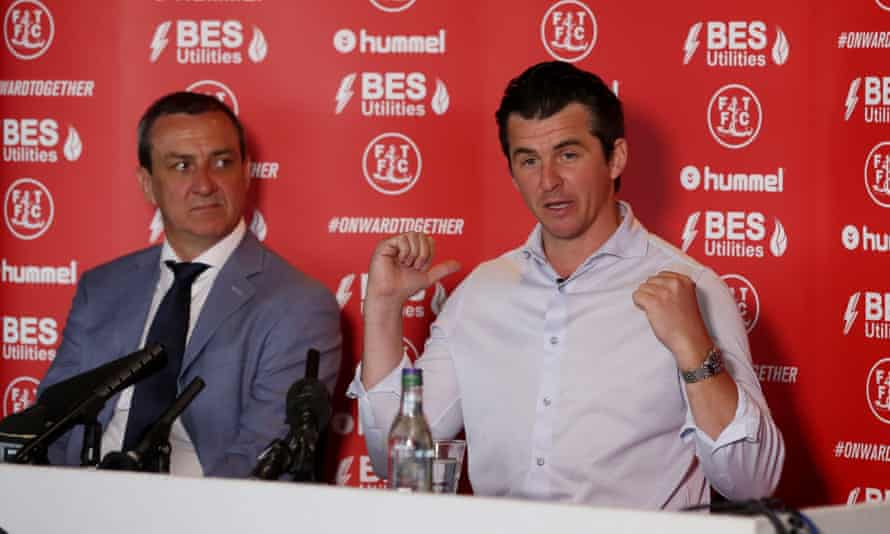 Barton with Fleetwood Town Chairman Andy Pilley at the press conference announcing Barton's appointment.