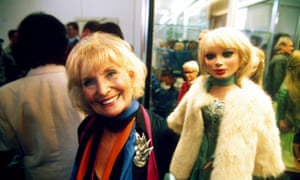 Sylvia Anderson with Lady Penelope at an auction of Thunderbirds puppets in 1995.