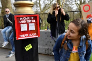 """In case of hard Brexit, break glass"" – box with teabags behind glass"