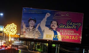 A billboard displaying a campaign poster for Nicaraguan President Daniel Ortega and his running mate and wife Rosario Murillo.