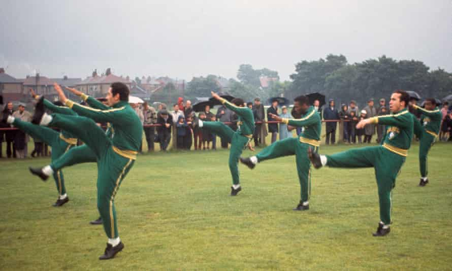 Brazil's players including Pelé, centre, had originally expected to be training at Bolton's Burnden Park but the grass was too long so instead the reigning world champions trained at the Bromwich Street ground. They went out in the group stage after losing to Hungary and Portugal.