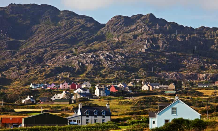 Low mountains of the Slieve Miskish range overlook Allihies village. Note the abandoned copper mine on the hillside.