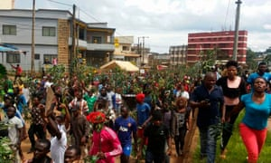 A march against perceived discrimination in favour of the country's francophone majority in Bamenda.