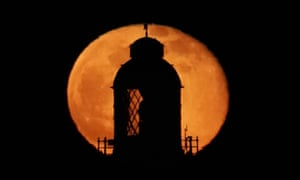 Last month's supermoon, known as the worm moon, rising at the top of St Mary's Lighthouse in Whitley Bay, Northumberland