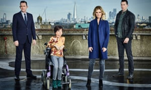 Liz Carr, as Clarissa Mullery, and rest of Silent Witness team