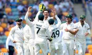 Mitchell Starc of Australia celebrates