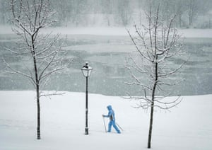A woman skis through the snow at the Kolomenskoye museum-reserve.