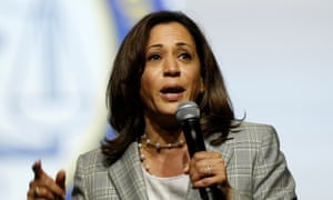 Senator Kamala Harris addresses the audience in Detroit.