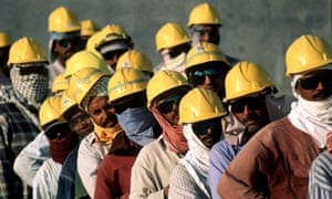 Workers on a construction site near Doha