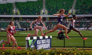 The women's steeplechase semifinal at this month's NCAA Track and Field Championships in Eugene, Oregon