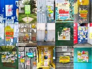 A collage of posters.